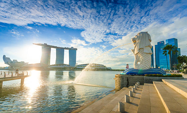 Merlion park Panorama Singapore, Singapore - November 4, 2012: Tourist beside the Merlion statue fountain, iconic symbol of Singapore, overlooking the Marina Bay waterfront, the Esplanade Theatres, luxury hotels merlion statue stock pictures, royalty-free photos & images