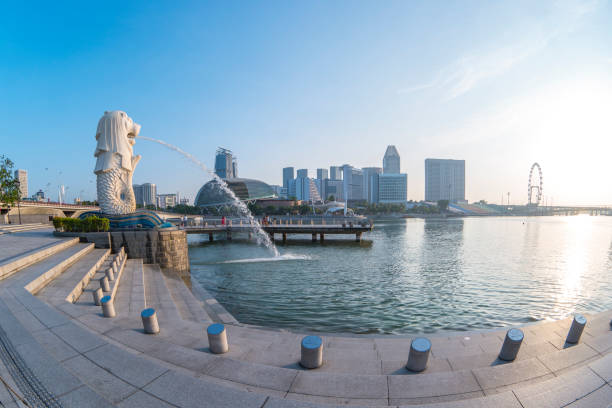 Merlion Park with sunrise in Singapore city, Singapore Singapore city, Singapore - April 9, 2018: Merlion Park with sunrise in Singapore city, Singapore. merlion statue stock pictures, royalty-free photos & images