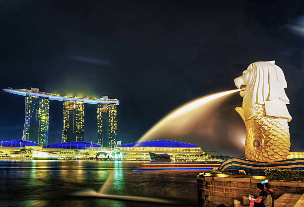 Merlion statue at Merlion Park and Marina Bay Sands Singapore, Singapore - March 1, 2016: Merlion statue at Merlion Park at Marina Bay in Singapore at night. Marina Bay Sands hotel building on the background. Illuminated with light at night merlion statue stock pictures, royalty-free photos & images