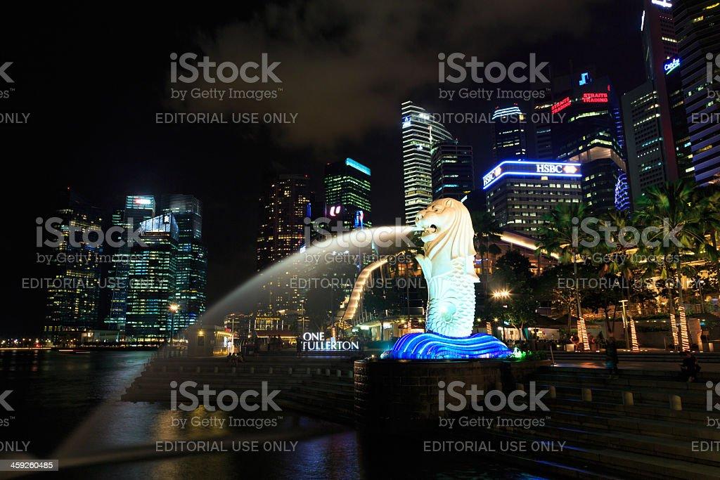 Merlion Statue in Singapore Marina Bay stock photo