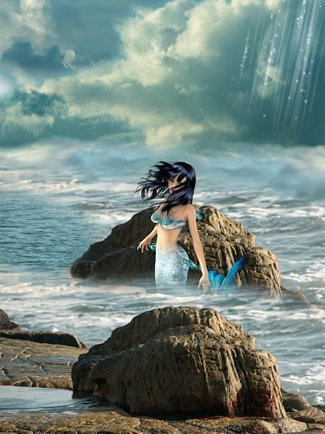 meerjungfrau - meerjungfrau wellen stock-fotos und bilder