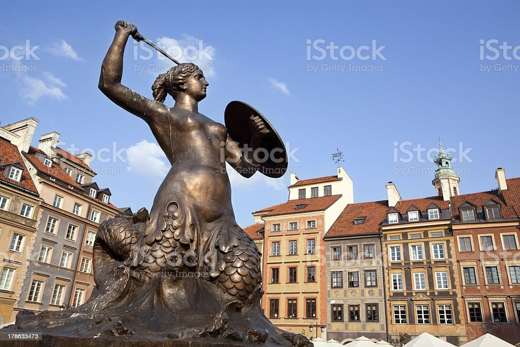 Mermaid statue in Warsaw oldtown, Poland stock photo