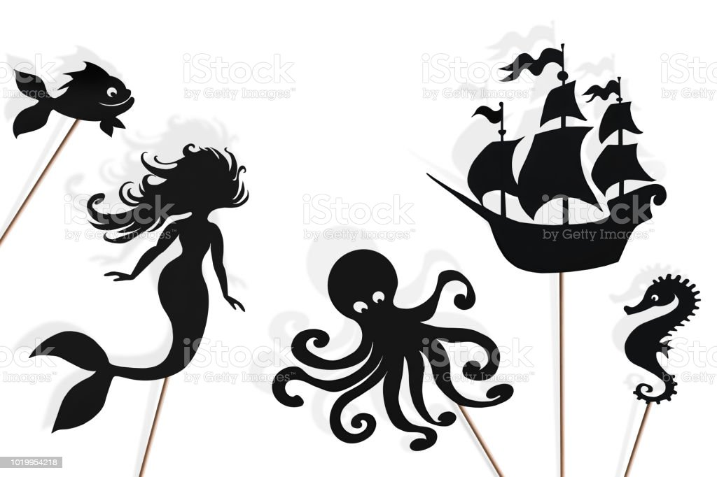 Mermaid storytelling, shadow puppets stock photo