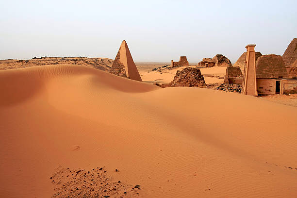 meroe pyramids from sudan - sudan stock photos and pictures