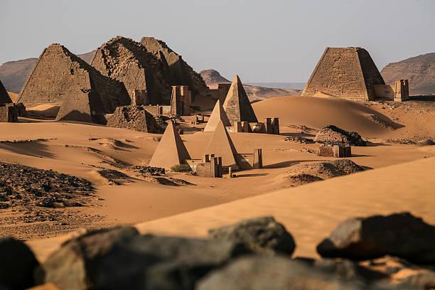 meroe pyramids in the sahara desert sudan - sudan stock photos and pictures