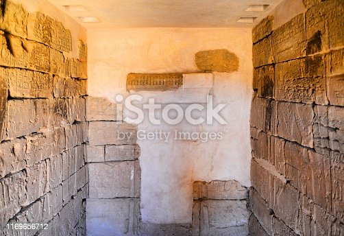 Meroe, Begarawiyah, Kush, Sudan: Nubian pyramids of Meroe, tombs of the Kushite kingdoms - Archaeological Sites of the Island of Meroe - UNESCO World Heritage Site - dated c. 800 BCE – c. 350 CE - open chamber with bas-relief pf pyramid N5, Prince Arikhankharer, son of Amanitore
