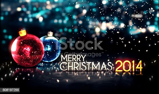 istock Merry Christmas 2014 Night Bokeh Beautiful 3D Background Red Blue 508197255