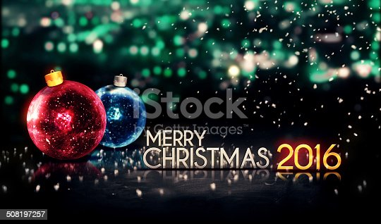 istock Merry Christmas 2016 Night Bokeh Beautiful 3D Background Red Blue 508197257