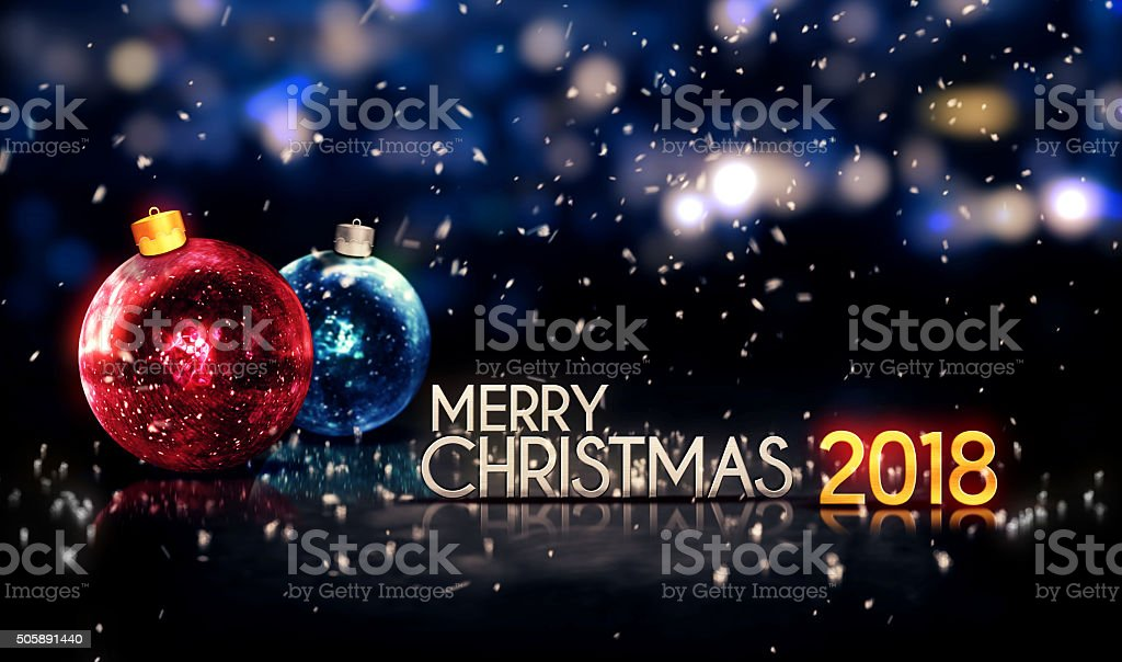 Merry Christmas 2018 Night Bokeh Beautiful 3d Background Stock Photo ...