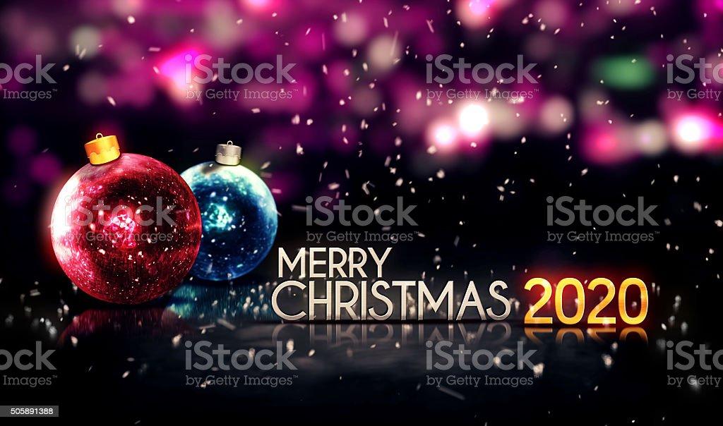 Frohe Weihnachten 3d.Frohe Weihnachten 2020 Nacht Bokeh Schöne 3d Hintergrund Stockfoto