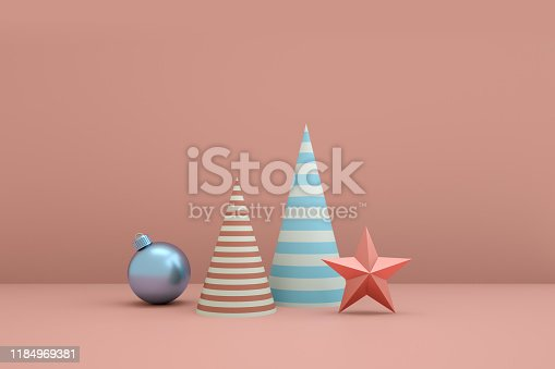 871072052 istock photo Merry Christmas and Happy New Year 3d rendering with xmas balls, stars, Stripe cone. Winter decoration, xmas minimal design 1184969381