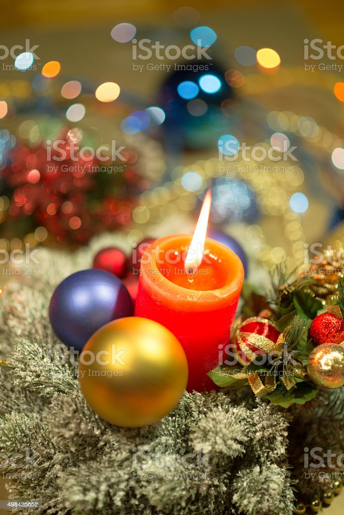 Merry Christmas and Happy New Year. Christmas decoration and baubles stock photo