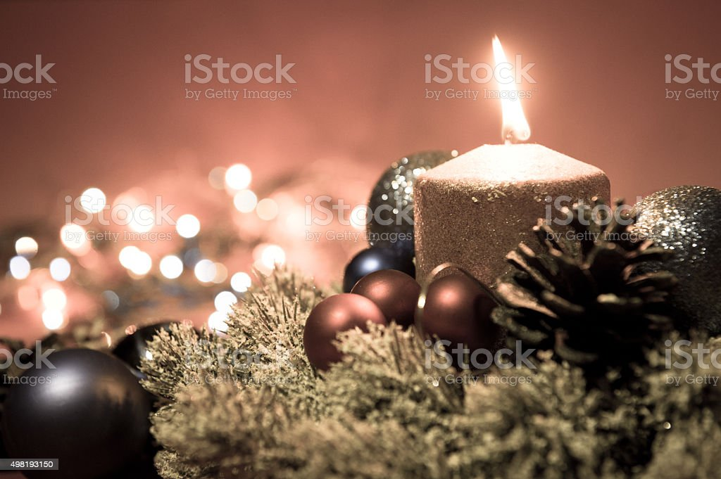 Merry Christmas and Happy New Year. Christmas decoration and candle stock photo