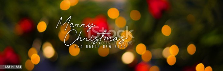 istock Merry Christmas and Happy New year. Christmas Light Bokeh Background Banner 1183141861