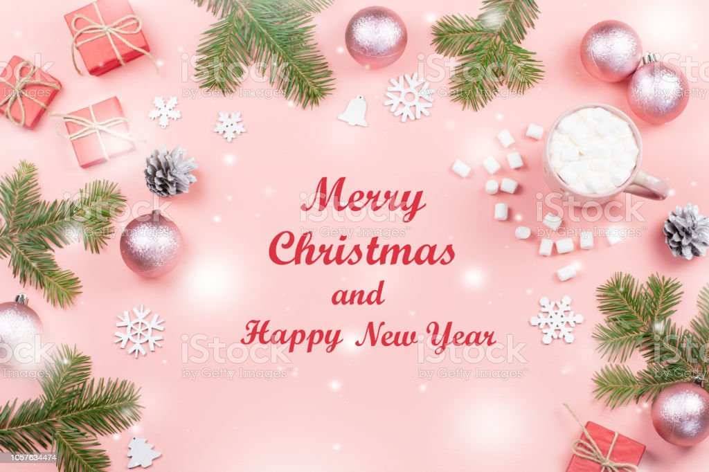 Merry Christmas And Happy New Year Greeting Card Christmas Tree And Decorations On Pink Top View Stock Photo Download Image Now Istock