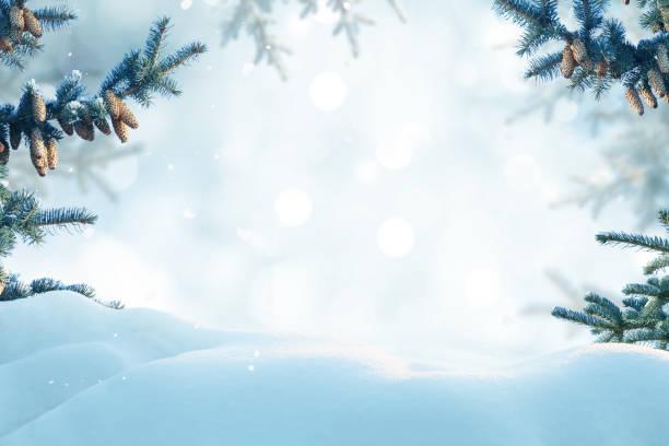 frohe weihnachten und ein glückliches neujahr grußkarte. winterlandschaft mit schnee.  weihnachten hintergrund tanne zweig mit zapfen - schneeflocke sonnenaufgang stock-fotos und bilder