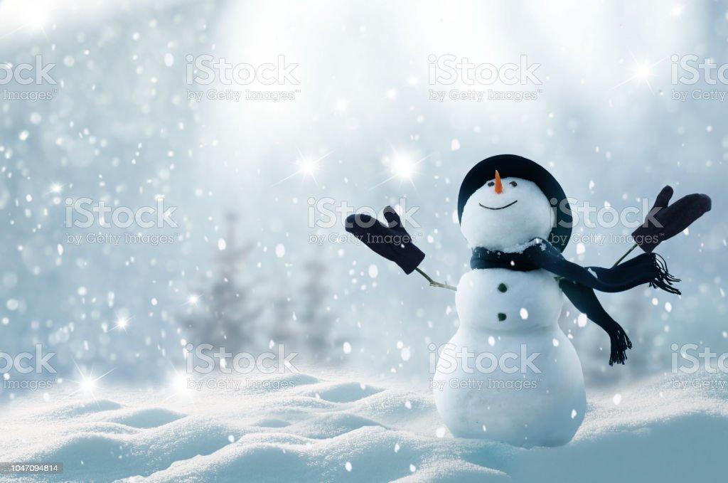 С Рождеством Христовым и с Новым годом поздравительная открытка с копией-пространство. Счастливый снеговик, стоящий в зимнем рождественск� - Стоковые фото Pinaceae роялти-фри