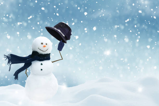merry christmas and happy new year greeting card with copy-space.happy snowman standing in winter christmas landscape.snow background - non urban scene stock pictures, royalty-free photos & images