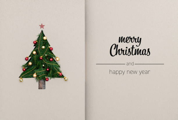 merry christmas and happy new year greetings in vertical top view cardboard with natural eco decorated christmas tree pine.ecology concept.xmas winter holiday season social media card background - christmas green stock photos and pictures