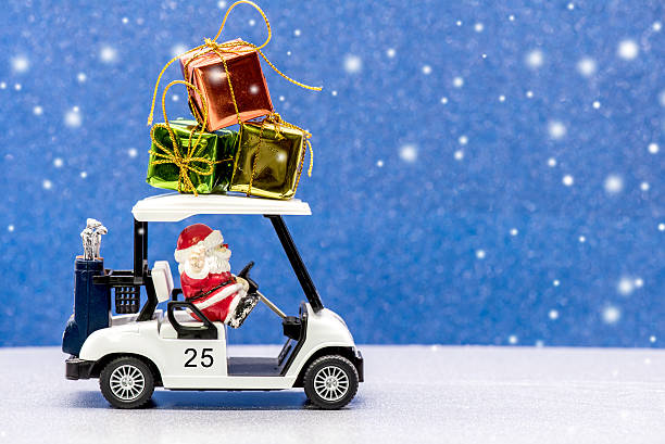 Merry Christmas and Happy new year Santa and Christmas, Golf car for celebration golf cart stock pictures, royalty-free photos & images