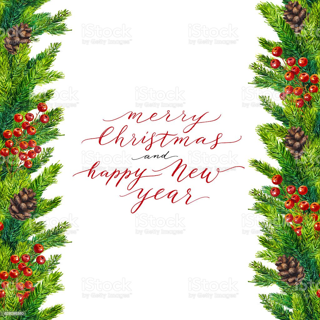Merry Christmas And Happy New Year Text On Watercolor Border Stock ...