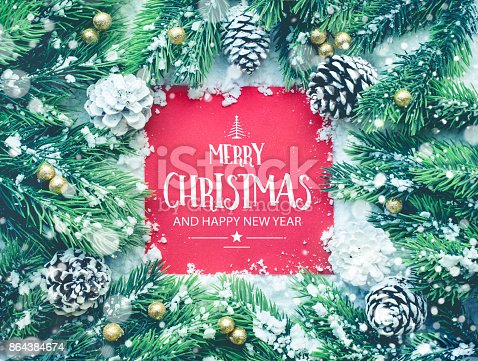 istock Merry christmas and happy new year  text with ornament decoration 864384674