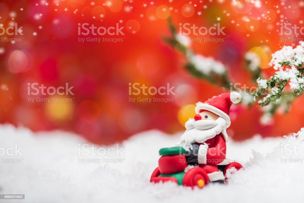 Merry Christmas and Happy New Year, winter season with snow and decoration. stock photo