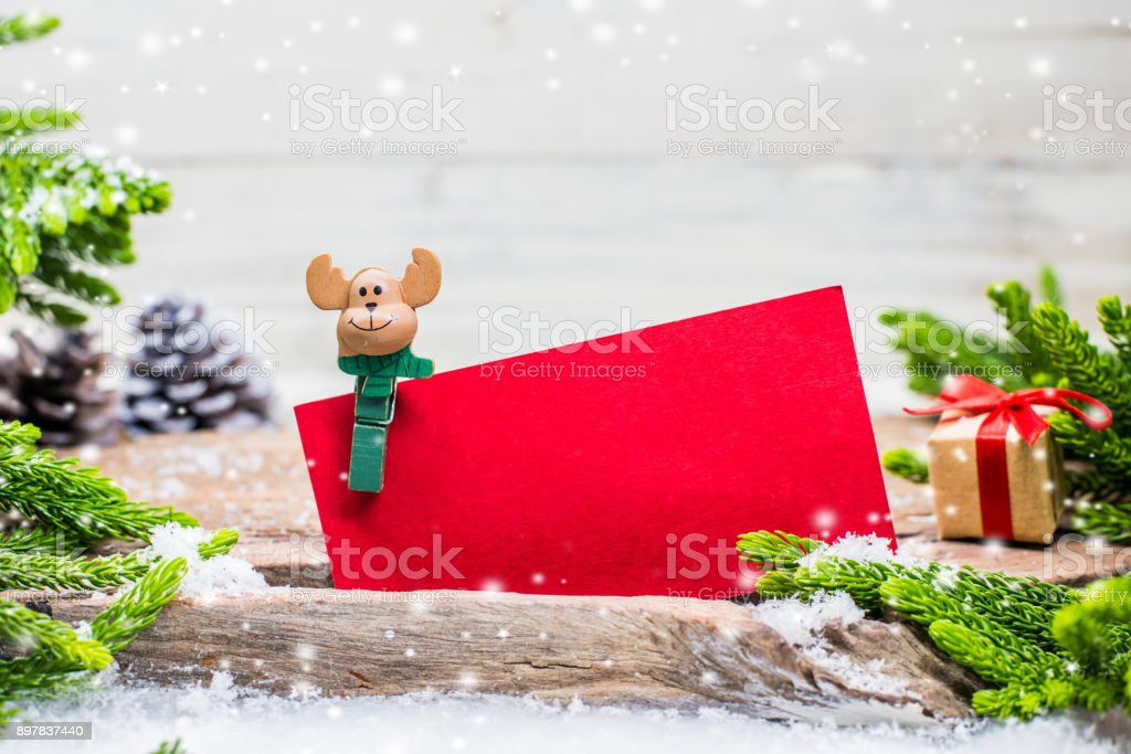 Merry Christmas and Happy New Year, winter season with snow and decoration. Price tag for sale on Boxing day. stock photo