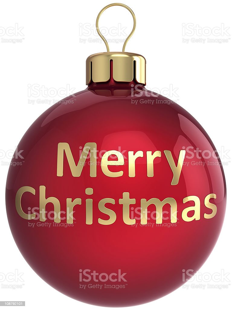 Merry Christmas ball bauble Xmas decoration colored red gold royalty-free stock photo