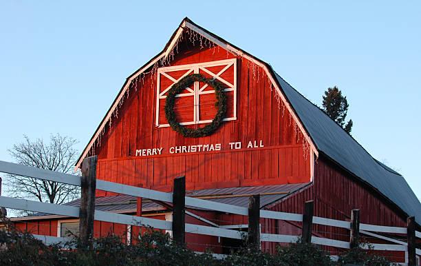 Merry Christmas Barn stock photo