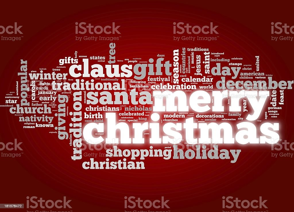 Merry Christmas card in tag cloud royalty-free stock photo
