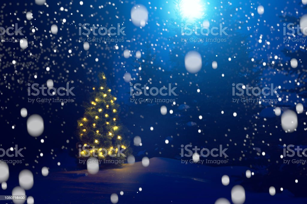 Beautiful Christmas Background Images.Merry Christmas Christmas Tree Outside Snowfall In The Moonlight Beautiful Christmas Background Fairy Tale Stock Photo Download Image Now