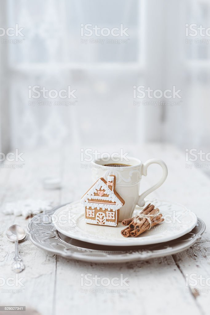 Merry Christmas composition with coffee and gingerbread sweets a stock photo