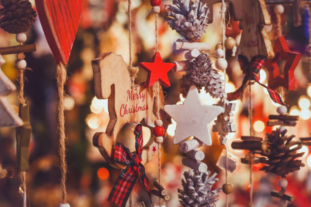 merry christmas, cute festive decoration close up stock photo