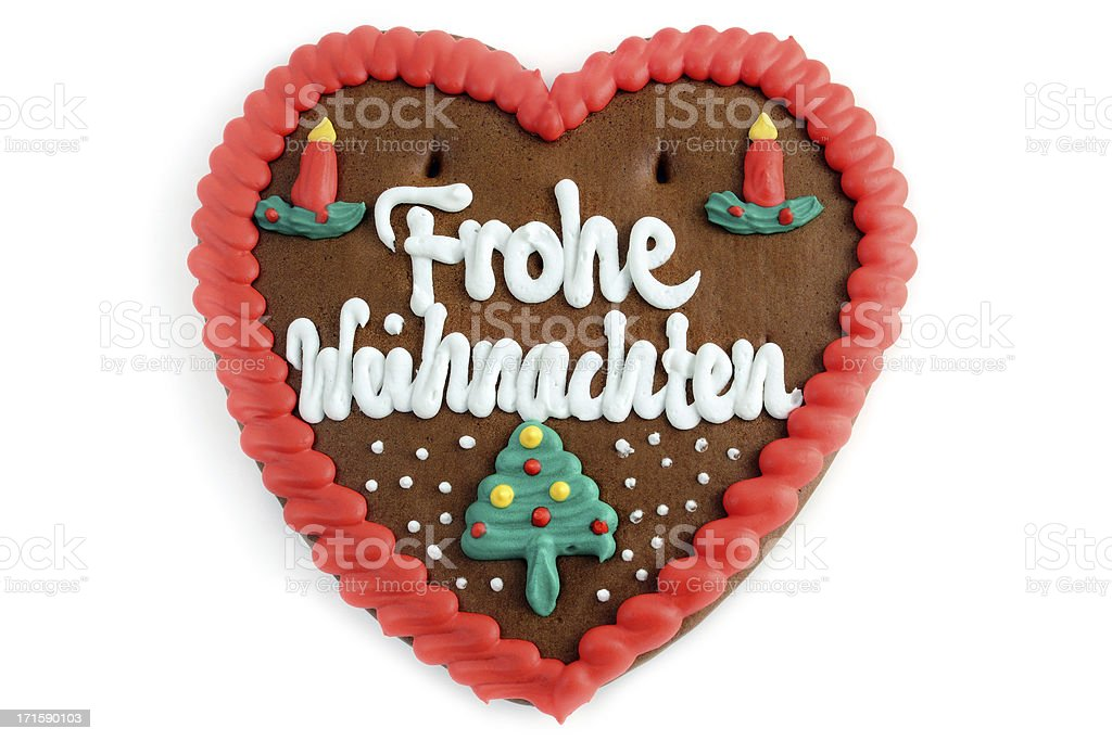 Merry Christmas decoration gingerbread cookie heart stock photo