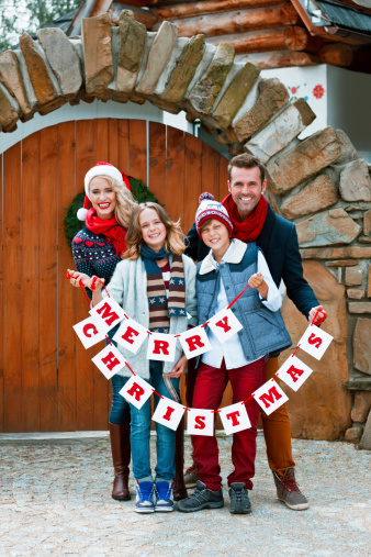 Merry Christmas Family Portrait Stock Photo - Download Image Now