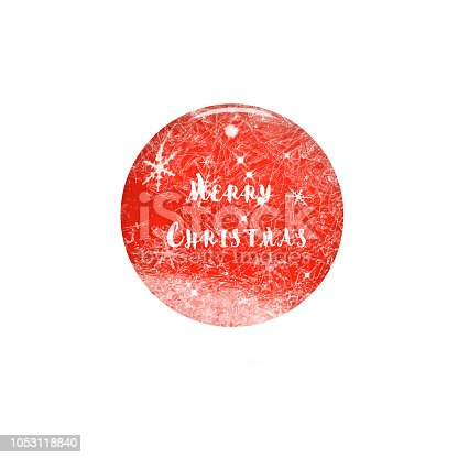 istock Merry Christmas festive design round red glass button with snoflakes on white background. Winter 3d illustration 1053118840
