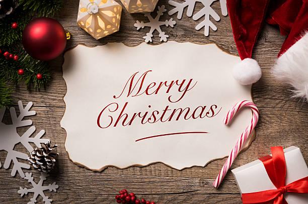 frohe weihnachten mit santa - texte zu weihnachten stock-fotos und bilder