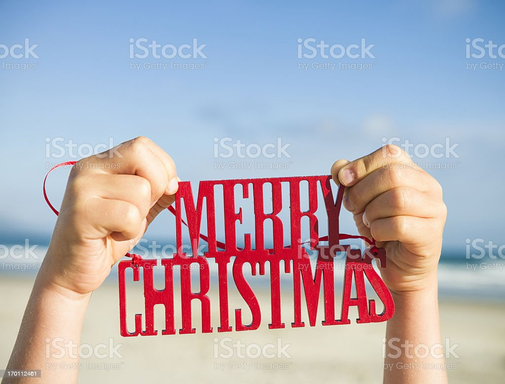 Merry Christmas From The Beach stock photo
