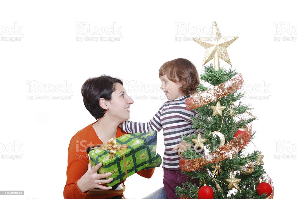 Merry Christmas gifts to children enjoy royalty-free stock photo