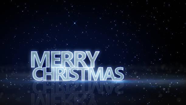 frohe weihnachten leuchtenden text und glitzernden partikel - es schneit text stock-fotos und bilder