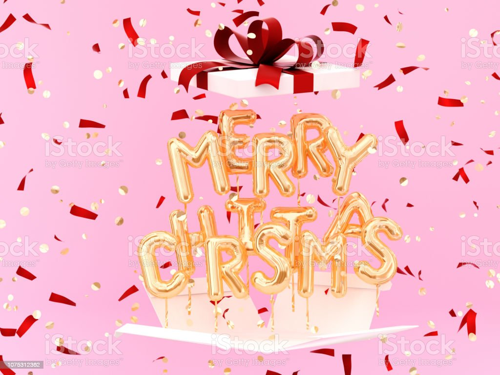 Merry Christmas gold text and gift on festive background stock photo