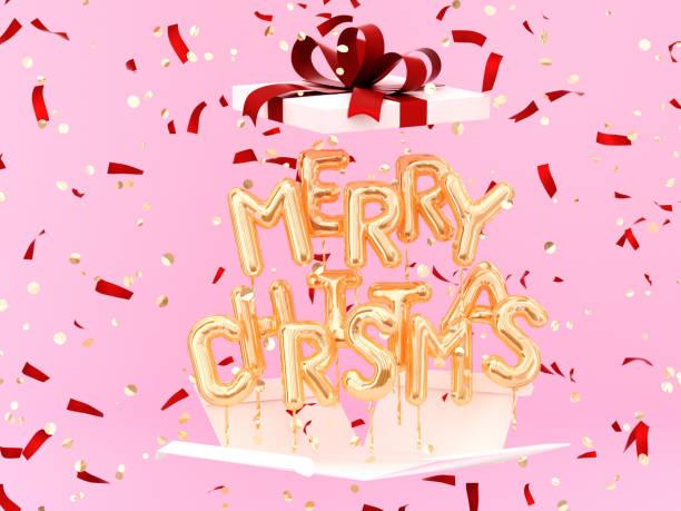 frohe weihnachten gold text und geschenk auf festlichen hintergrund - zitate weihnachten stock-fotos und bilder