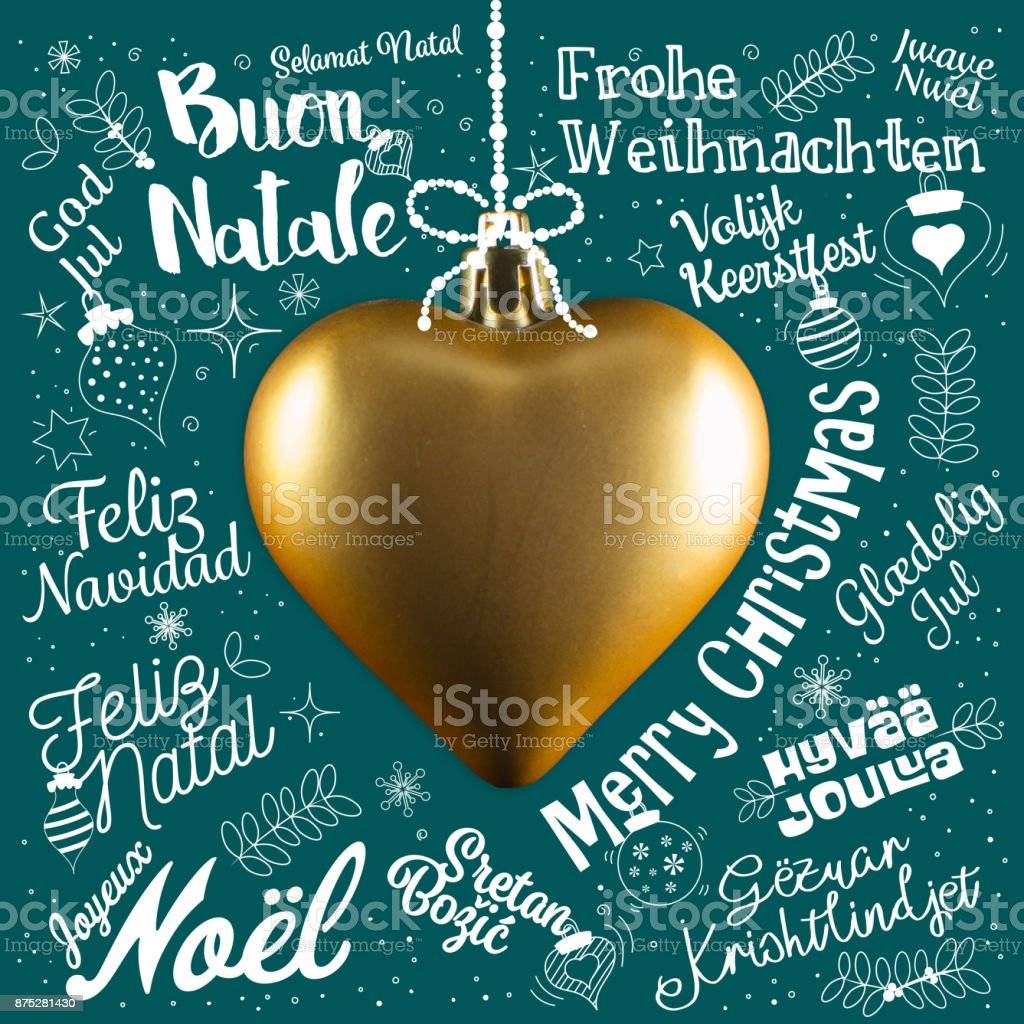 Merry christmas greetings card from world in different languages merry christmas greetings card from world in different languages with golden heart calligraphic text and m4hsunfo