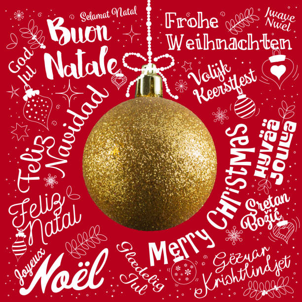 Merry Christmas greetings card from world in different languages with golden ball tree, calligraphic text and font handwritten lettering Merry Christmas greetings card from world in different languages with golden ball tree, calligraphic text and font handwritten lettering Anglo American stock pictures, royalty-free photos & images