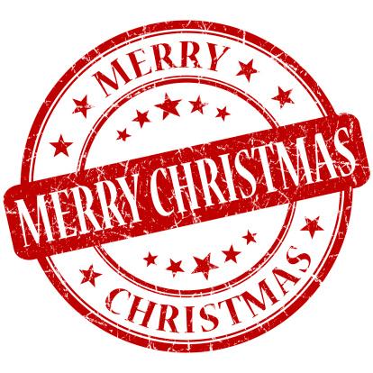 merry christmas grunge round red stamp