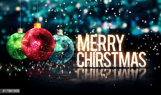 505891566 istock photo Merry Christmas Hanging Baubles Blue Bokeh Beautiful 3D 517361509
