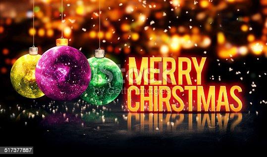 505891566 istock photo Merry Christmas Hanging Baubles Yellow Bokeh Beautiful 3D 517377887
