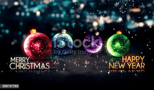 505891566 istock photo Merry Christmas Happy New Year Colorful Baubles Background 508197263