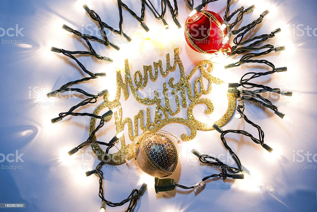 merry christmas illuminated and glowing sign royalty-free stock photo